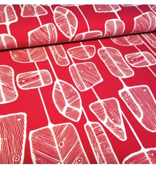 Tencel-Jersey Hanging Leaves red