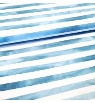 Popeline Aquarellringel blau