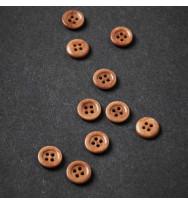 Knopf Steinnuss mit Rand 11 mm mustard