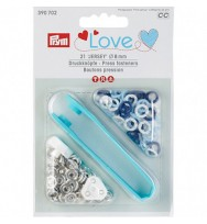 Druckknöpfe Jersey 8 mm Ring blau/weiß/hellblau