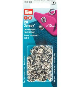 Druckknöpfe Jersey 10 mm Ring silber - Nachfüllpack