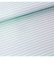Jersey Streifen hellblau/vanille