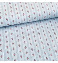 Druckstoff Blumenstreifen grau/pink
