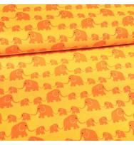 Druckstoff Elefanten gelb-orange