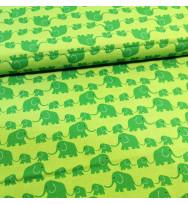 Druckstoff Elefanten grün