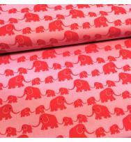 Druckstoff Elefanten rosa-rot