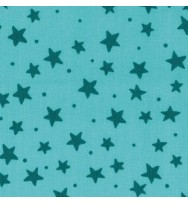 Druckstoff Sterne türkis