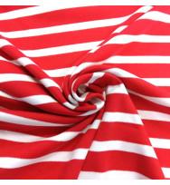 Interlock Ringel tango red/weiß